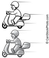 Isolated illustration Delivery scooter