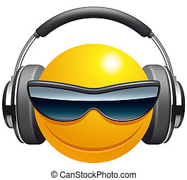 Emoticon DJ - Isolated illustration  Emoticon DJ