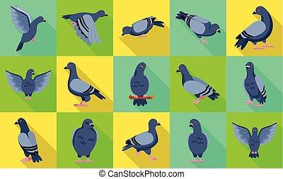 .isolated, illustration, ensemble, icône, pigeon, vecteur, colombe, oiseau, arrière-plan., plat, paix, pigeon., blanc