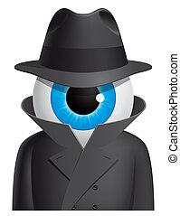 Isolated illustration Eyeball spy character