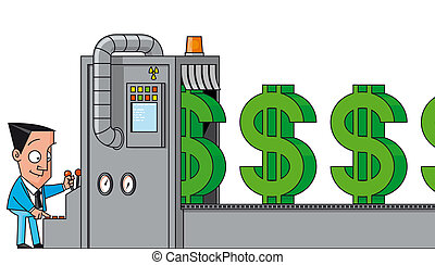 Isolated illustration Money making machine