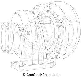 Isolated illustration of car turbocharger on white background. Illustration created of 3d