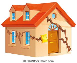 Cracked house - Isolated illustration of Cracked house