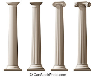 Roman Doric and Ionic columns - Isolated illustration of...