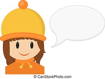 Isolated illustration of smiling young girl in winter cloth with speach bubble