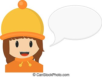 Isolated illustration of smiling young girl in winter cloth with speech bubble