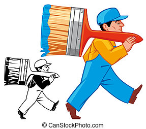 Painter - Isolated illustration Painter walking with...