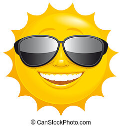 Smiling sun - Isolated illustration Smiling sun with...