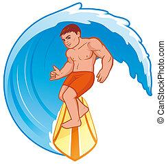Isolated illustration Surfer on wave