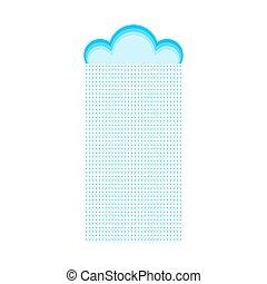 isolated., illustration, vecteur, pluie, gabarit, temps, nuage