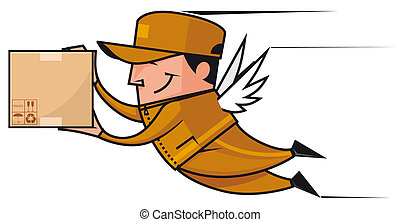 Isolated illustration Winged deliveryman flying with package