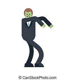 isolated., illustrazione, capo, zombie, vettore, dead., uomo affari