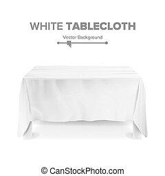 isolated., illustrazione, rettangolare, vector., tavola, bianco, tovaglia, vuoto, 3d