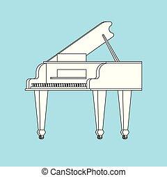 isolated., ilustração, instrumento musical, vetorial, piano grande, branca