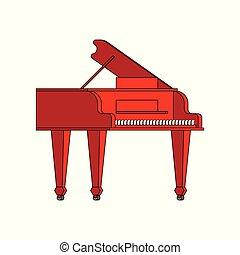 isolated., ilustração, instrumento, vetorial, piano grande, musical, vermelho