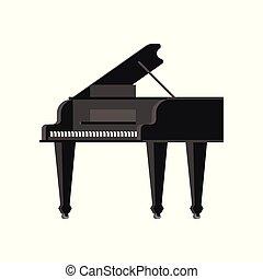 isolated., ilustração, instrumento, vetorial, pretas, piano grande, musical