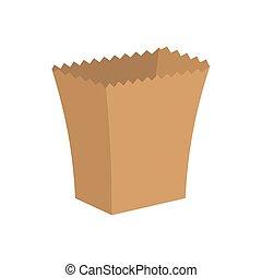 isolated., ilustração, packaging., saco papel, ecológico, vetorial