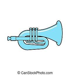 isolated., ilustración, cuerno, vector, instrument.,...