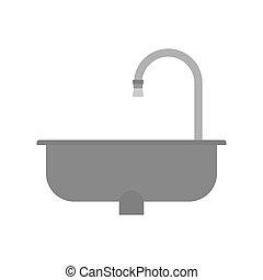 isolated., ilustración, vector, fregadero, vacío, cocina