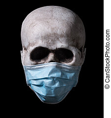 Isolated image of a human skull fitted with face mask against coronavirus