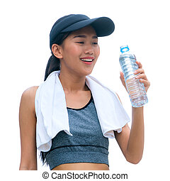 Isolated image of sport woman holding water bottle