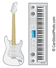 Isolated images - Isolated image of guitar and synthesizer. ...