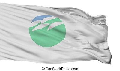Isolated Inashiki city flag, prefecture Ibaraki, Japan -...