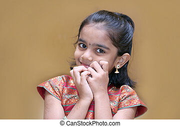 Isolated Indian girl in traditional dress