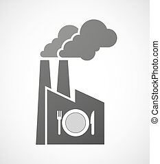 Isolated industrial factory icon with  a dish, knife and a fork icon