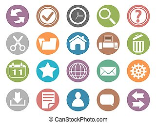 interface and toolbar buttons icon set