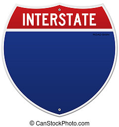 Isolated Interstate Sign - American blue and red motorway...