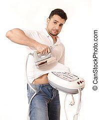 Isolated ironing man
