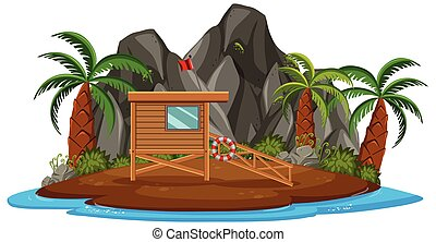 Isolated island with lifeguard tower illustration