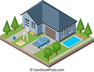 Isolated isomatic cottage. Country life. Garage. Green...