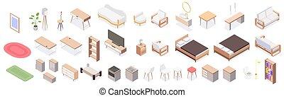 Isolated Isometric Furniture Icon Set