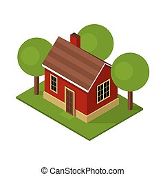 Isolated Isometric House Buildings with Garden and Trees. Vector