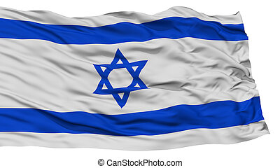 Isolated Israel Flag, Waving on White Background, High...