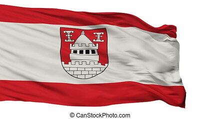 Isolated Isselburg city flag, Germany - Isselburg flag, city...