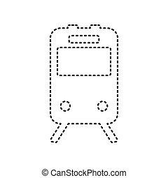 isolated., istenverte, cégtábla., háttér., kiképez, fekete, vector., fehér, ikon
