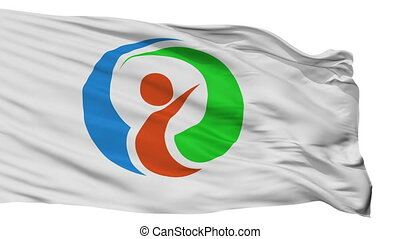Isolated Itoshima city flag, prefecture Fukuoka, Japan -...
