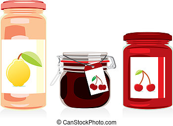 isolated jam jars set