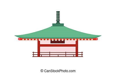isolated., japonaise, pagode, vecteur, tower., temple