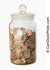 Isolated Jar of Coins