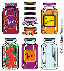 isolated jars set in retro style