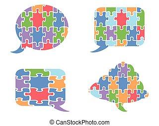 puzzle speech bubbles