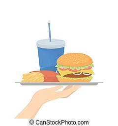 Isolated junk food. Hamburger with drink and french fries.