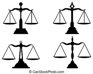 isolated Justice scales silhouette from white background