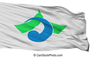 Isolated kahoku city flag, prefecture Ishikawa, Japan -...