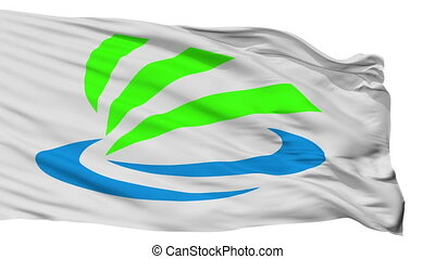 Isolated Kaizu city flag, prefecture chapter, Japan - Kaizu...