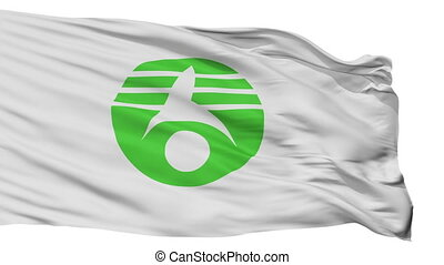Isolated Kasukabe city flag, prefecture Kasukabe, Japan -...